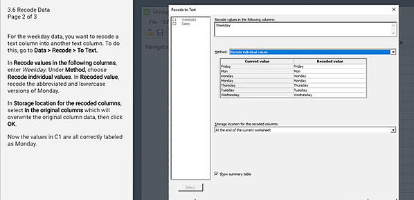 Recode data to text in Minitab Statistical Software