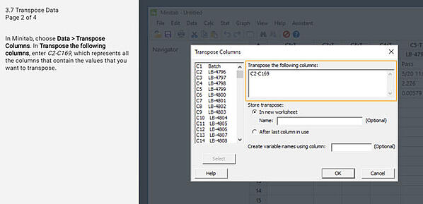 Transpose columns and rows in Minitab Statistical Software