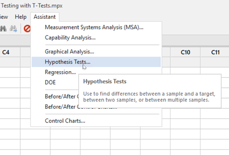 How to find Hypothesis Tests under Minitab Assistant Menu