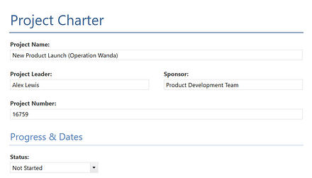 Example of a Project Charter in Minitab Workspace