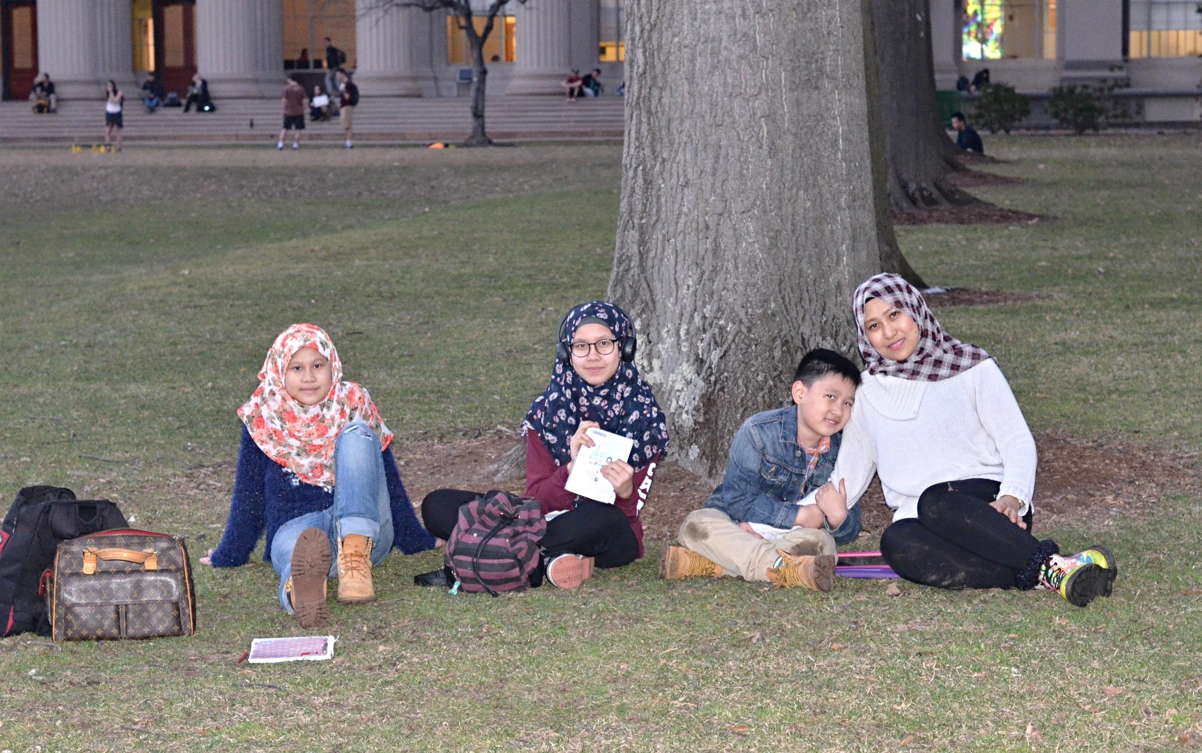 My children at MIT_on grass
