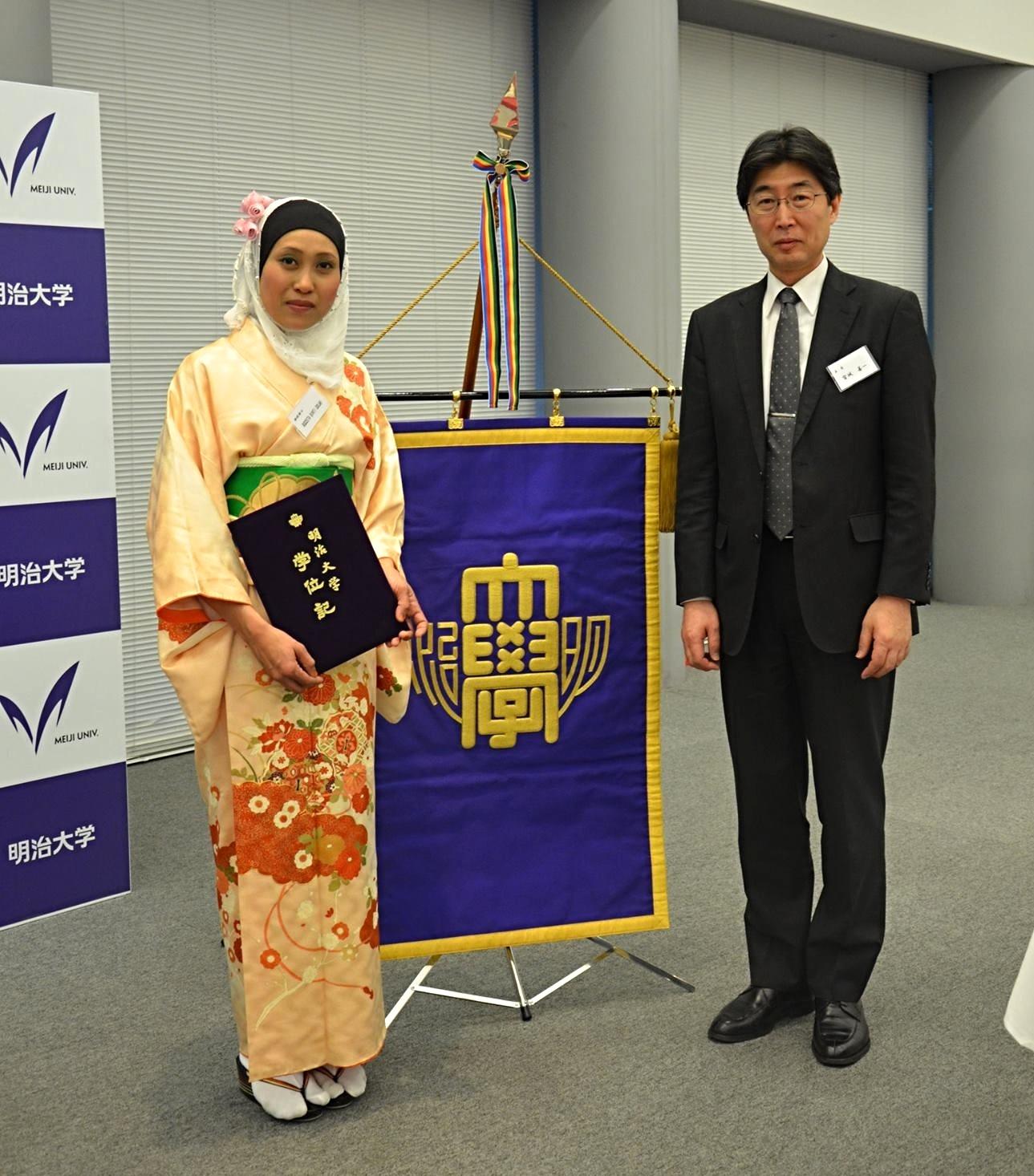 Ph.D Graduation day at Meiji University with Supervisor_Prof. Dr. Zenichi Miyagi