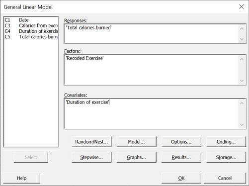 General Linear Model (GLM) dialog box to check differences between purely cardio and cardio+resistance training