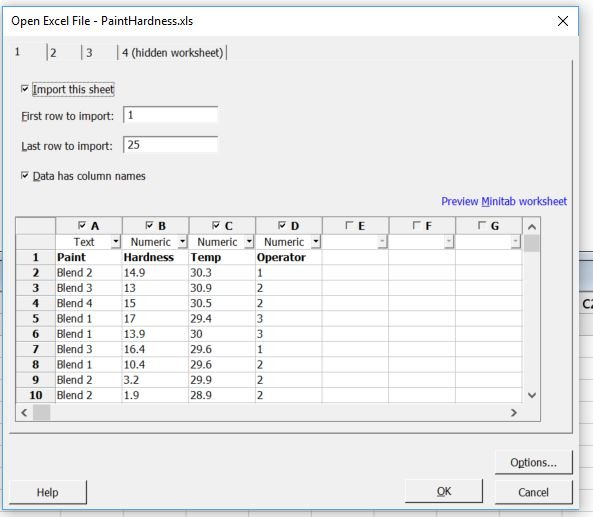 Hidden worksheets from an Excel file can be seen when you import the spreadsheet.