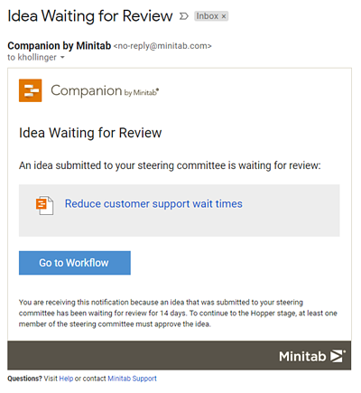 Idea Waiting for Review Email Notification