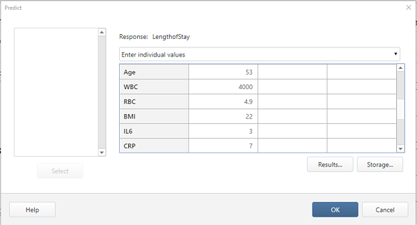Predict dialog box in Minitab