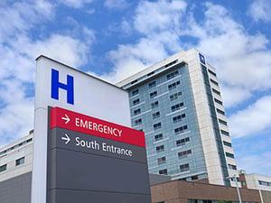 Outside a hospital