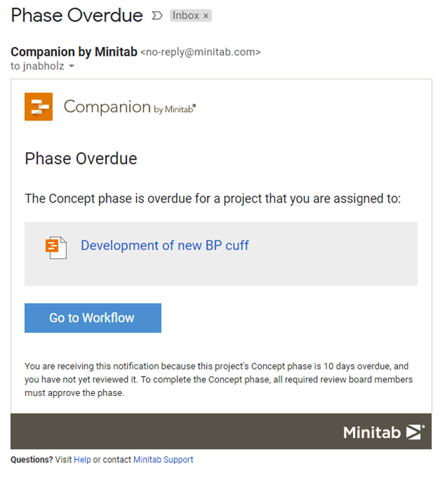 Phase Overdue Email Notification