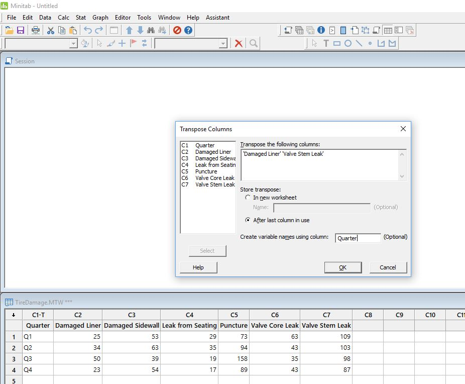 See an example of transposing columns in the support section.