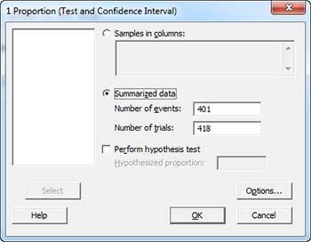 1 Proportion test to verify reliability