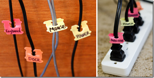 Use bread or bagel bag ties to label tangled cords in your office.