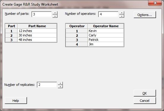 Create Gage R&R Worksheet