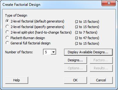 Create Factorial Design Experiments