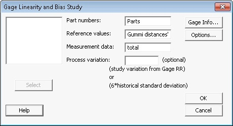 Gage linearity and bias study
