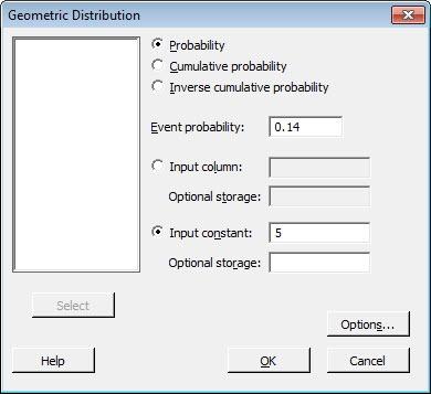 Geometric Distribution using Minitab