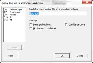logistic regression options