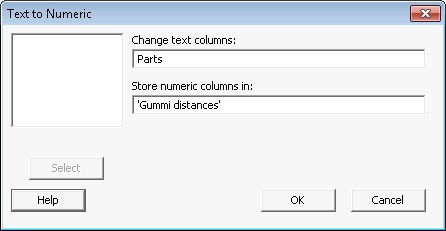 Change text to numeric data
