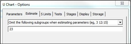 Options dialog for U Chart in Minitab Statistical Software