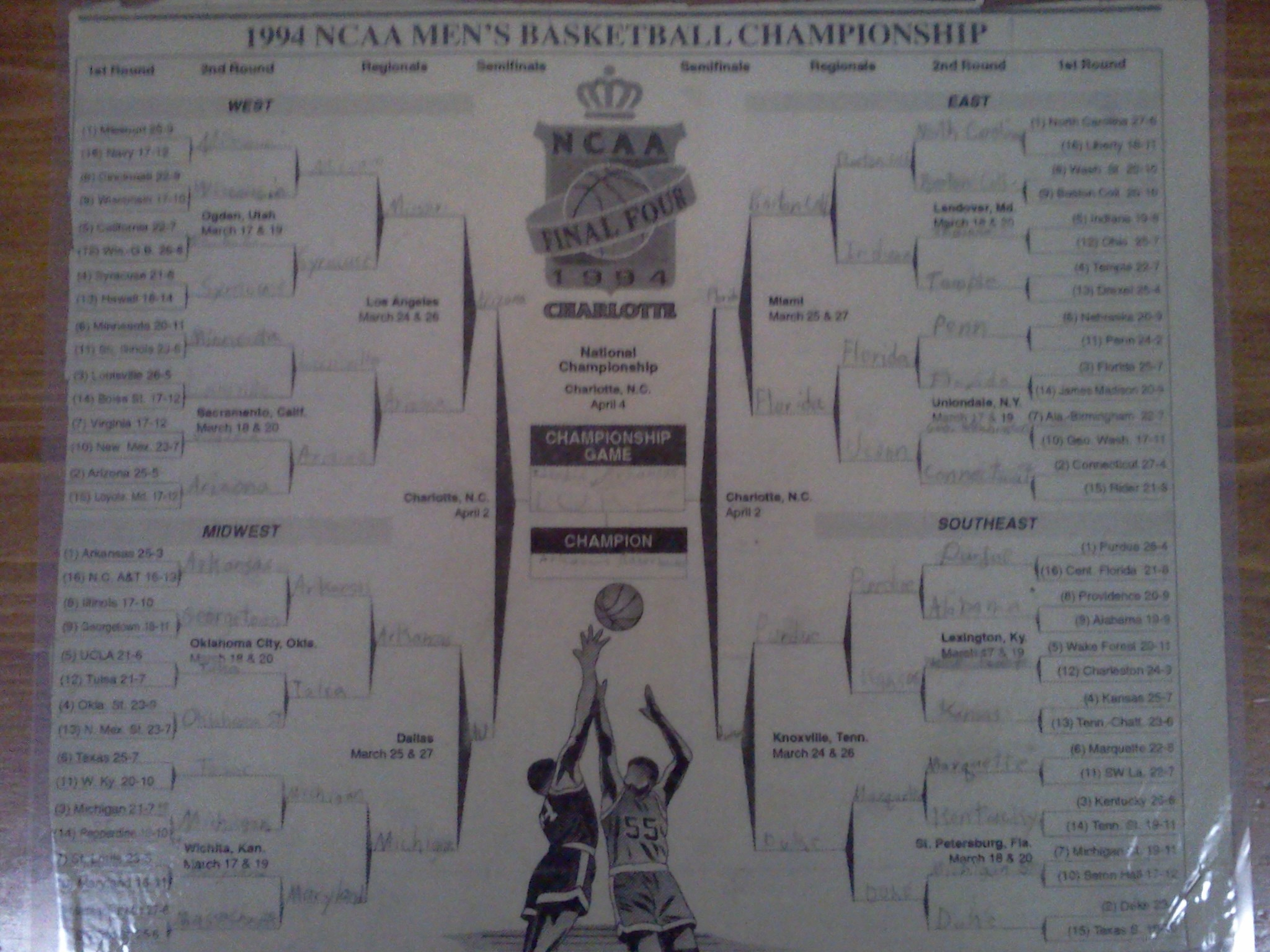 Yes, it's the 1994 NCAA Tournament bracket. In 4th grade I caught pneumonia in early March and missed school for a week. My mom cut the bracket out of the newspaper to give me something to do. I've been hooked ever since.