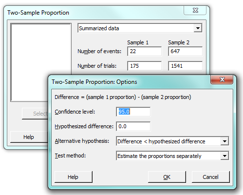 2 proportions test dialog