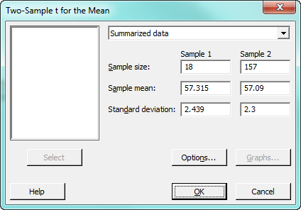 two-sample t test dialog