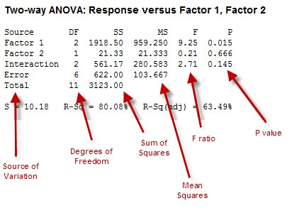 Two-way ANOVA Table with Labels