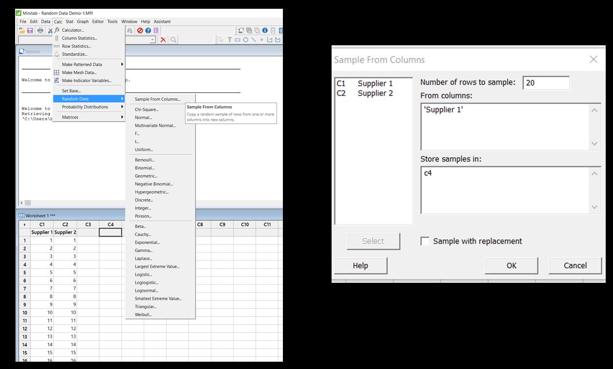 Minitab dialog boxes