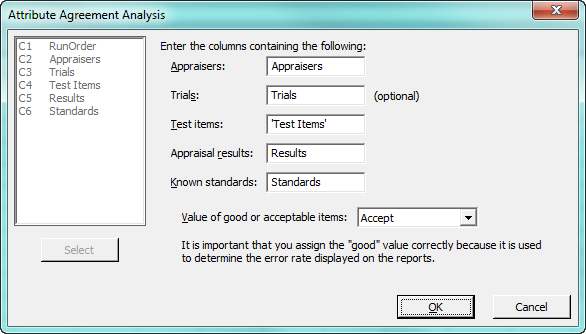 attribute agreement analysis dialog box