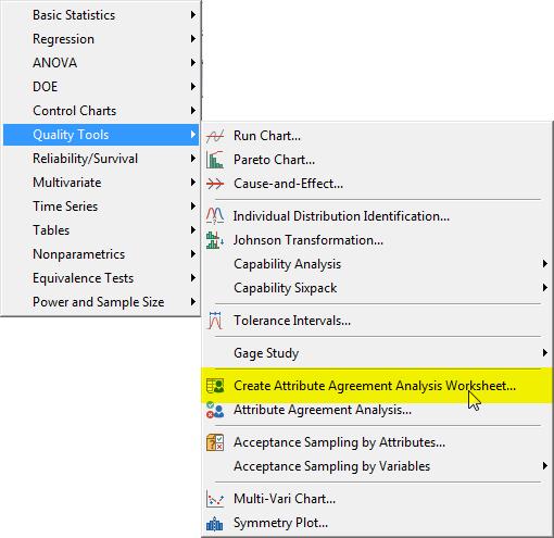 create attribute agreement analysis worksheet