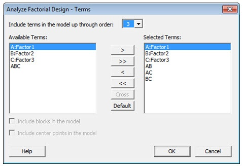 Attribute DOE Analyze Factorial Design Terms Dialog