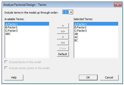 Attribute DOE Analyze Factorial Design Terms Dialog