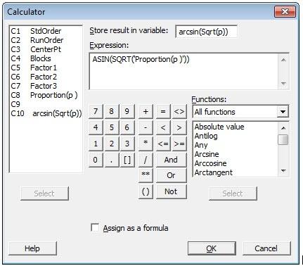 Attribute DOE - Calculator ArcSine Transformation Dialog Box