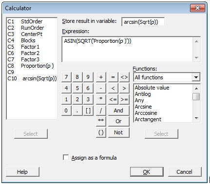 Attribute DOE - Calculator ArcSine Transformation Dialog Box