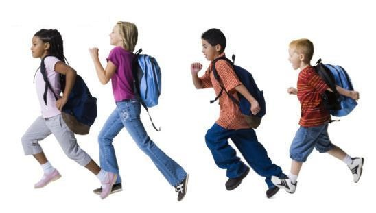 Kids running in backpacks