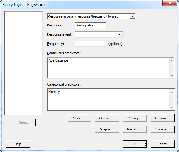 binary logistic regression dialog 1