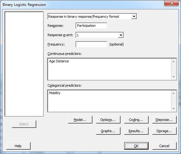 binary logistic regression dialog 1