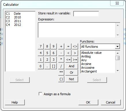 Minitab Calculator
