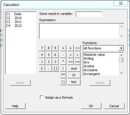 Minitab Calculator