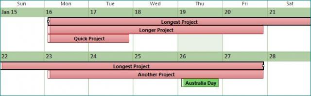 Calendar showing projects