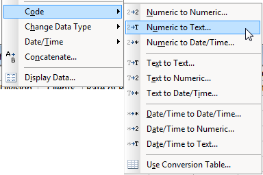 code data menu