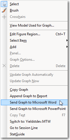 """The right-click menu, with """"Sned Graph to Microsoft Word"""" highlighted."""