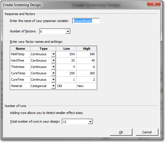 The number of factors and the number of runs are the only decisions for setting up a screening design in the Assistant.