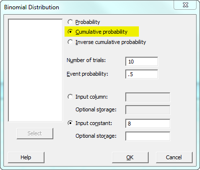binomial cumulative probability dialog