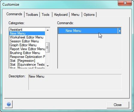 customize dialog box