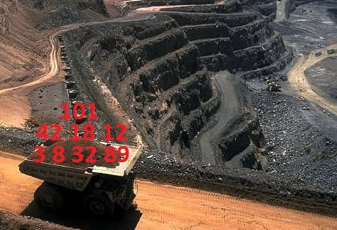 Picture of mining truck filled with numbers