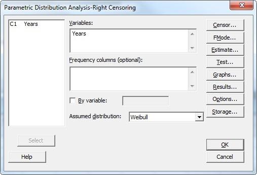Parametric Distribution Analysis - Main Dialog