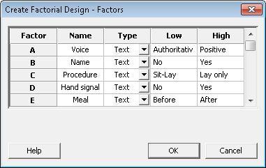 DOE factors dialog