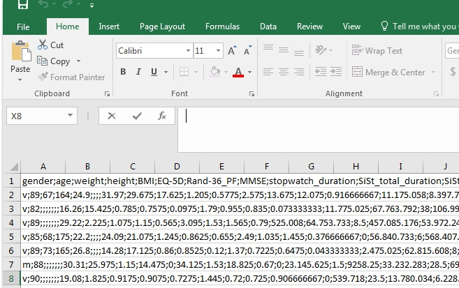 The Excel file loads all of the data into Column A.