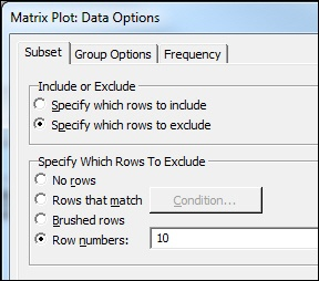 Exclude row 10 from the matrix