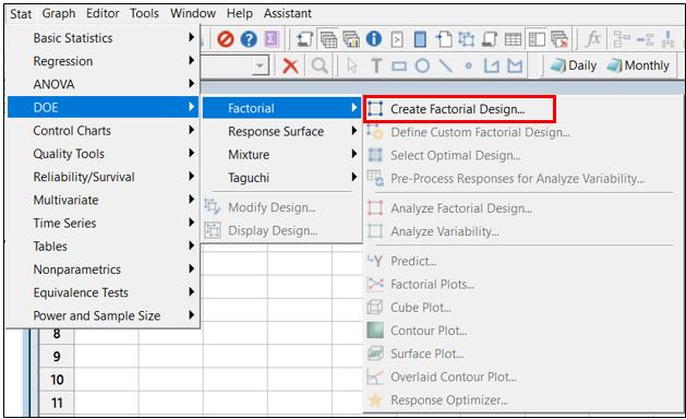 select create factorial design